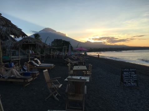 Dinner at sunset in the shade of a still dormant Mount Agung