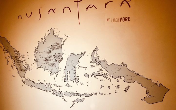 A map on the wall of Indonesia