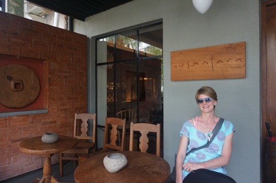 Sitting outside Nusantara restaurant