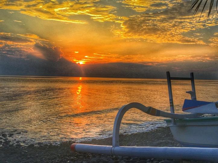 Beautiful sunrise from Nalini resort, Amed