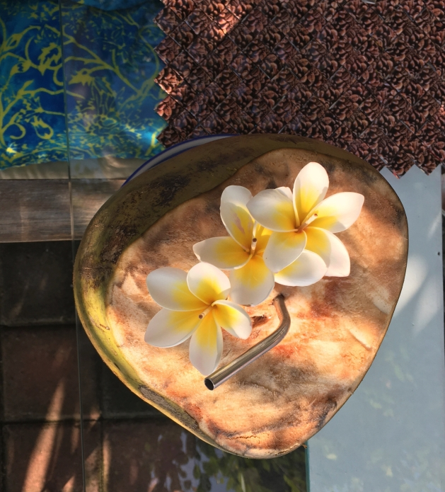 Coconut with flowers and stainless steel straw