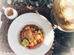Fresh fruit, homemade granola and cane sugar