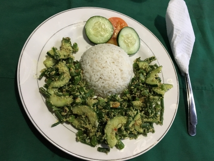Sauteed green veg with shredded coconut and rice