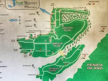 Map of Nusa Lembongan and Nusa Ceningan