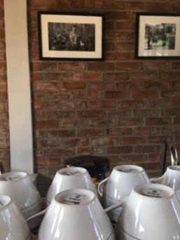 Brick building lends a modern coffee-shop vibe