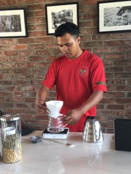 Ayu's brother prepares me another coffee!