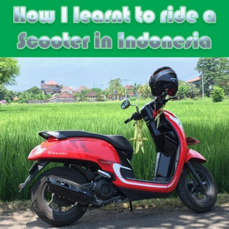 Red scooter in front of some rice fields